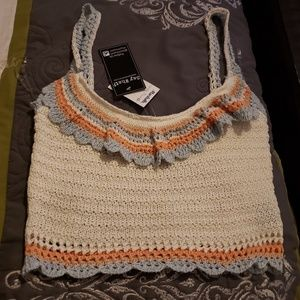 Say what?? Crocheted  belly  shirt